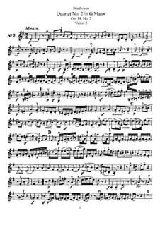 Quartet No.2 in G Major: violino parte II by Ludwig van Beethoven