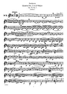 Quartet No.3 in  D Major: violino parte II by Ludwig van Beethoven