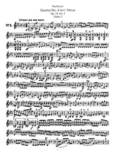 Quartet No.4 in C Minor: violino parte II by Ludwig van Beethoven