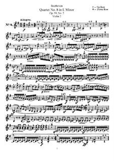 String Quartet No.8 in E Minor 'Rasumowsky-Quartet', Op.59 No.2: violino parte II by Ludwig van Beethoven