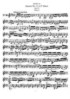 String Quartet No.11 in F Minor 'Serioso', Op.95: violino parte II by Ludwig van Beethoven