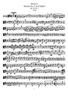 Quartet No.3 in  D Major: parte viola by Ludwig van Beethoven