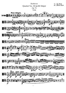 String Quartet No.10 in E Flat Major 'Harp', Op.74: parte viola by Ludwig van Beethoven