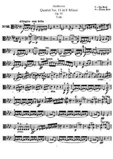 String Quartet No.11 in F Minor 'Serioso', Op.95: parte viola by Ludwig van Beethoven