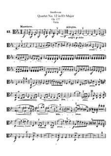 String Quartet No.12 in E Flat Major, Op.127: parte viola by Ludwig van Beethoven