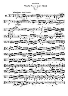String Quartet No.13 in B Flat Major, Op.130: parte viola by Ludwig van Beethoven
