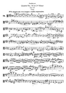 String Quartet No.14 in C Sharp Minor, Op.131: parte viola by Ludwig van Beethoven
