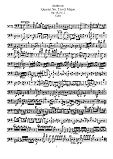 Quartet No.2 in G Major: parte violoncelo by Ludwig van Beethoven
