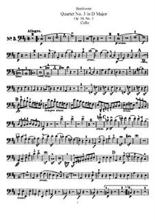 Quartet No.3 in  D Major: parte violoncelo by Ludwig van Beethoven