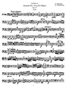 String Quartet No.10 in E Flat Major 'Harp', Op.74: parte violoncelo by Ludwig van Beethoven
