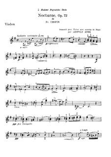 Nocturne in E Minor, Op. posth.72 No.1: para violino e piano - parte solo by Frédéric Chopin