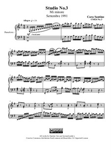 Studies for Piano, CS026 No.1-10: No.3 in mi minore by Santino Cara