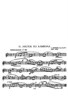 Three Pieces, Op.45: No.1 Feuillet d'album (Album Leaf), for flute and piano by Alexander Scriabin