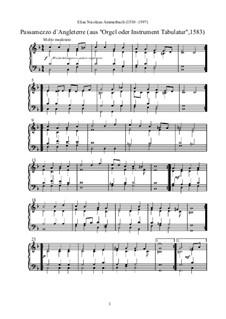 Passamezzo d'Angleterre: Passamezzo d'Angleterre by Elias Nicolaus Ammerbach