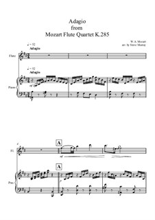 Quartet for Flute and Strings No.28 in D Major, K.285: Adagio, for flute and piano by Wolfgang Amadeus Mozart
