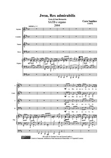 Jesu, Rex admirabilis. SATB and organ, CS072: Jesu, Rex admirabilis. SATB and organ by Santino Cara