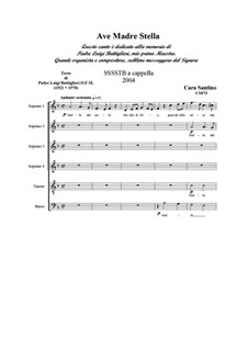 Ave Madre Stella. SSSSTB a cappella, CS073: Ave Madre Stella. SSSSTB a cappella by Santino Cara