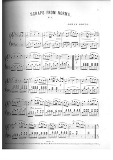 Potpourri on Themes: No.1, for piano by Vincenzo Bellini