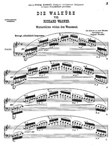The Valkyrie , WWV 86b: Winter Storms, for piano by Richard Wagner