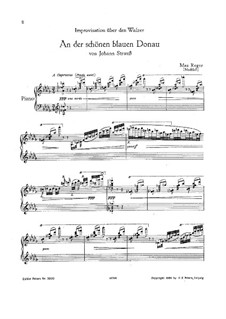 On the Beautiful Blue Danube, for Piano, Op.314: For a single performer (D Flat Major) by Johann Strauss (Sohn)