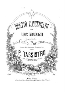 Duo Concertant for Two Violins: Duo Concertant for Two Violins by Pietro Tassistro
