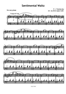 Six Pieces for Piano, TH 143 Op.51: No.6 Sentimental Waltz, for easy piano by Pyotr Tchaikovsky