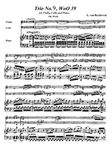 Trio for Violin, Cello and Piano No.9, WoO 39: partitura completa by Ludwig van Beethoven