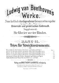String Trio No.1 in E Flat Major, Op.3: versão para piano de quatro mãos by Ludwig van Beethoven