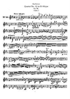 String Quartet No.10 in E Flat Major 'Harp', Op.74: violino parte II by Ludwig van Beethoven