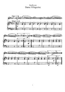 Danse Villageoise for Flute and Piano: partitura, parte solo by Ludwig van Beethoven