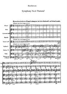 Movement I. Awakening of Happy Feelings on Arrival in the Countryside: partitura completa by Ludwig van Beethoven