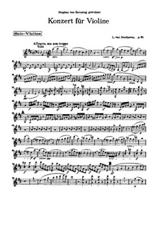 Concerto for Violin and Orchestra in D Major, Op.61: Version for violin and piano – violin solo part by Ludwig van Beethoven