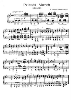 Musik zu Athalia (Music to Athalie), Op.74: War March of the Priest, for piano by Felix Mendelssohn-Bartholdy
