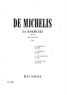 Twenty-Four Exercises for Flute, Op.25: Twenty-Four Exercises for Flute by Vincenzo de Michelis