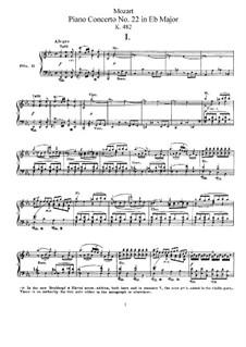 Concerto for Piano and Orchestra No.22 in E Flat Major, K.482: arranjos para dois pianos de quatro mãos by Wolfgang Amadeus Mozart