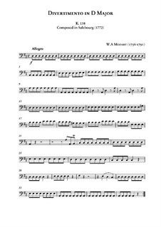 Divertissement in D Major, K.136: parte violoncelo by Wolfgang Amadeus Mozart
