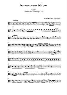 Divertissement in D Major, K.136: parte viola by Wolfgang Amadeus Mozart