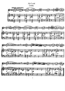 Air lent in D Minor: para flauta e piano - partitura, parte by André Grétry