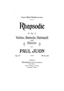 Rhapsody for Piano Quartet, Op.37: Partitura completa by Paul Juon