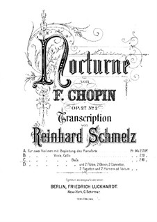 Nocturnes, Op.27: No.2, for string quintet – violin II part by Frédéric Chopin
