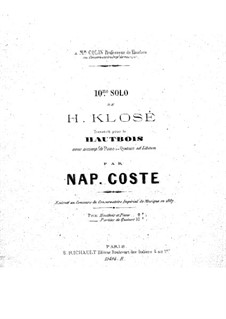 Solo No.10 for Clarinet and Piano, Op.27: Version for oboe and piano by Hyacinthe Eléonore Klosé