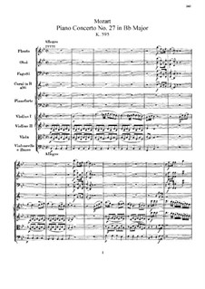 Concerto for Piano and Orchestra No.27 in B Flat Major, K.595: Partitura completa by Wolfgang Amadeus Mozart