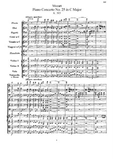 Concerto for Piano and Orchestra No.25 in C Major, K.503: Partitura completa by Wolfgang Amadeus Mozart