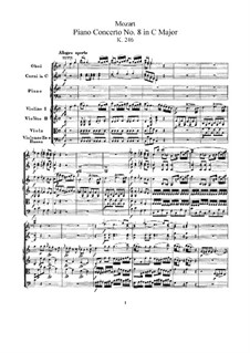 Concerto for Piano and Orchestra No.8 in C Major 'Lützow-Concert', K.246: Partitura completa by Wolfgang Amadeus Mozart