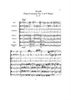 Concerto for Piano and Orchestra No.1 in F Major, K.37: Partitura completa by Wolfgang Amadeus Mozart