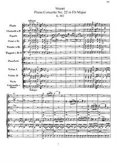 Concerto for Piano and Orchestra No.22 in E Flat Major, K.482: Partitura completa by Wolfgang Amadeus Mozart