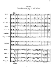 Concerto for Piano and Orchestra No.24 in C Minor, K.491: Partitura completa by Wolfgang Amadeus Mozart