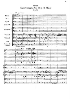 Concerto for Piano and Orchestra No.18 in B Flat Major, K.456: Partitura completa by Wolfgang Amadeus Mozart