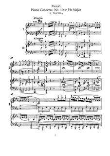 Concerto for Two Pianos and Orchestra No.10 in E Flat Major, K.365: arranjos para dois pianos de quatro mãos by Wolfgang Amadeus Mozart