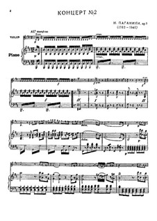 Concerto for Violin and Orchestra No.2 in B Minor, Op.7: Version for violin and piano – score, solo part by Niccolò Paganini